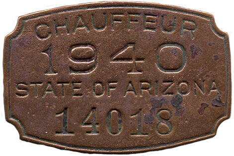 Token - 1940 AZ Chauffeur's Badge